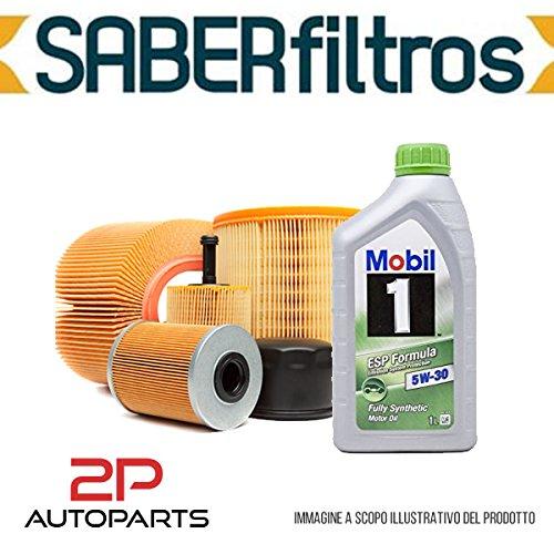 Kit tagliando auto, kit tre filtri e 4 litri olio motore Mobil 5W30 (KF1080/fo)