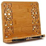 BINSENI Soporte para Libros,Binsein de Recetas con 2 Soportes de Metal para Libros (bambú), Diseño Elegante para Libros, Cocinas, Recetas, iPad, Tabletas (B)