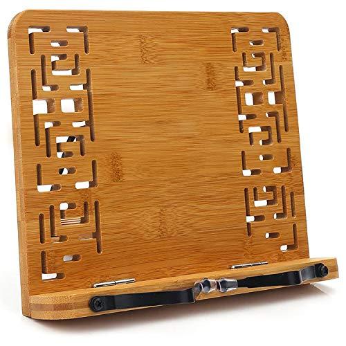 BINSENI, leggio per Libri di Ricette da Cucina, con 2 Supporti in Metallo in bambù Ecologico, Elegante Modello per Libri, cuochi, Ricette, iPad, Tablet (B)