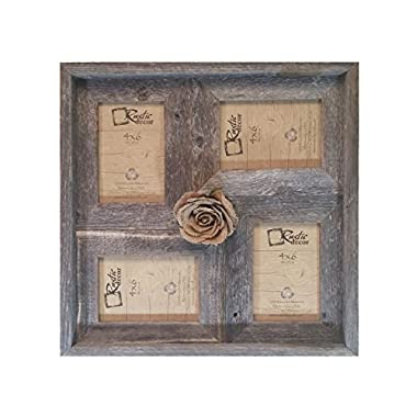 4x6 -2  wide Multi-Direction Rustic Barn Wood Collage Frame(Holds 4-4x6 Pictures)
