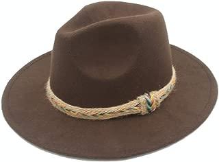 Fedora Cap Men Women Wool Fedora Hat Casual Wild Jazz Hat Panama Church Hat with Belt Dance Party Hat Size 56-58CM Felt hat (Color : Coffee, Size : 56-58)