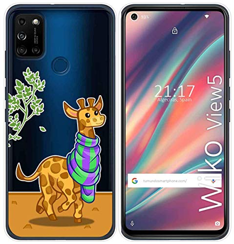Cover Gel Transparent for Wiko View5/View5 Plus Design Giraffe Drawings
