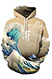 Cutiefox Unisex 3D Printed Big Pockets Pullover Hoodie Sweatshirt Brown Size L