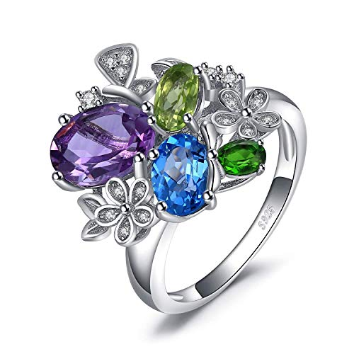 necklace Ladies fashion Crystal olivine cubic zirconia Personalized birth commitment rings silver, ring size Hoisting (Size : 63 * 20mm)