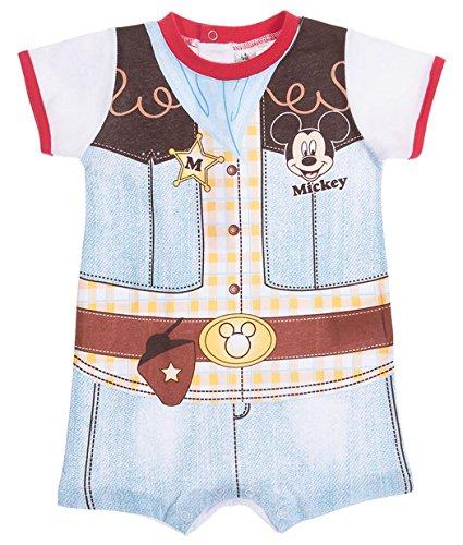 Barboteuse bébé garçon Mickey Trompe-oeil Cow-boy de 3 à 18mois (3 mois, Bleu/rouge)