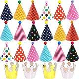 BESTZY 22PCS Partyhüte Geburtstag Dekoration Set Happy Birthday Partyhüte Party Kegel Hüte mit Pom Poms(16*26cm)
