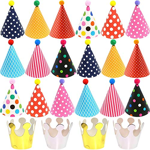 BESTZY 22PCS Partyhüte Geburtstag Dekoration Set Happy Birthday Partyhüte Party Kegel Hüte mit Pom Poms(16*26cm)