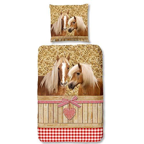 Good Morning Bettwäsche 6212 Goldy Bunt Pferde Landhaus Flanell 135 cm x 200 cm