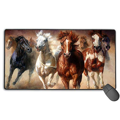 Mouse Pads Keyboards Mice Mats Pad Native American Indian Horses Gaming Anti-Slip Mousepad with Stitched Edge Cute Funny Personalized Custom for Working Game Office Study PC Computers Table