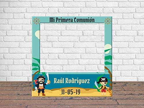 Photocall Mi Primera Comunión Piratas 100 x100 cm | Regalos para Bautizos | Photocall Económico y Original | Ideas para Regalos | Regalos Personalizados de Comunión