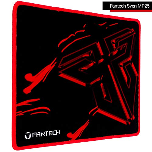Fantech Small Gaming Mouse Pad Sven MP25, Speed Mouse Mat with Durable Stitched Edges, Water-Resistant, Non-Slip Base, 9.8×8.3×0.08 Inch, Black-Red
