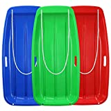 Boenoea Plastic Snow Sleds for Kids and Adult Blue Red Green 3 Pack 35inch