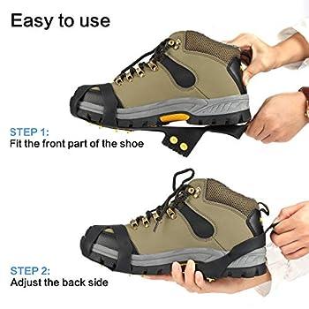 EONPOW Glace Traction Crampons Antidérapant sur Chaussures/Bottes 10 Clous à Neige Grips Crampons Crampons Pointes