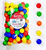 koenig-tom 500 Palle da 6 cm per Bambini, Palline in plastica Senza plastificanti (Certificazione TÜV = Prove Continue dal 2012)