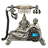 FTFTO Equipo de Vida Teléfono Fijo Retro Timbre Tradicional y botón pulsador Dial Bronce Estatua de Mujer Teléfono con Cable Decoración para Dormitorio Sala de Estar Oficina
