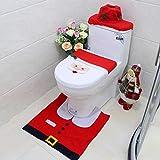 MITAO Set de Toilette de Noël Tapis de Couvre-Toilette Père Noël Noël Couleur 01...