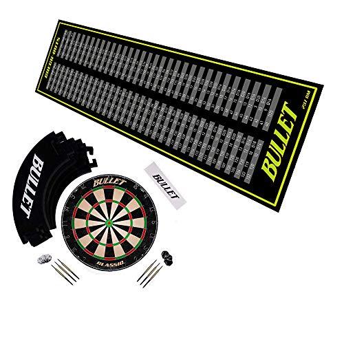 BULLET-Darts Großes Dart Turnier Set mit einem Dartboard aus Brasilianischen Sisal, 6X-Steeldarts, Surround Ring, Einer Wurflinie und einem professionellem Checkout Teppich - Schwarz/Grün