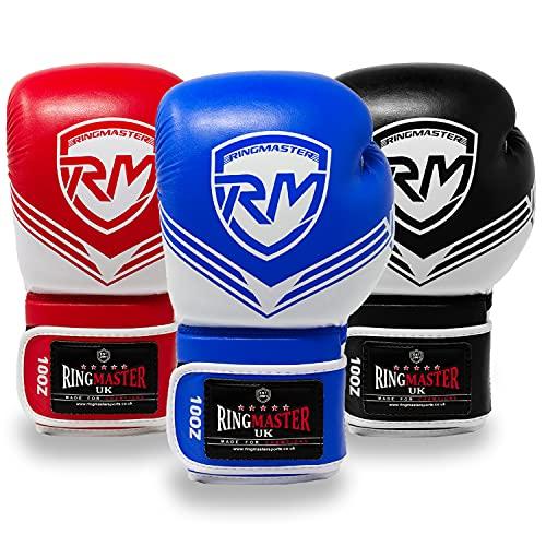 RingMasterUK - Guantes de boxeo para boxeo (8 onzas), diseño de victoria, color azul