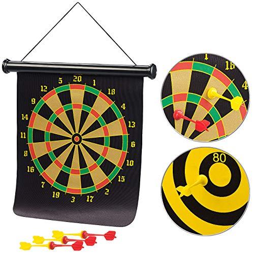 Playtastic Dartscheibe: Magnetisches Dart-Spiel mit Zielscheibe, aufrollbar, mit 6 Pfeilen (Magnetisches Dartspiel Kinder)