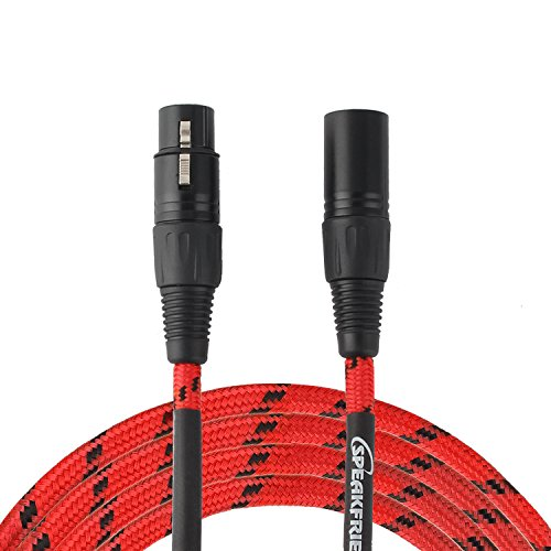 SPEAKFRIENDS 10ft Microphone Cable Professional 3-PIN Balanced XLR Male to XLR Female Mic Cable(10 Feet, Red)