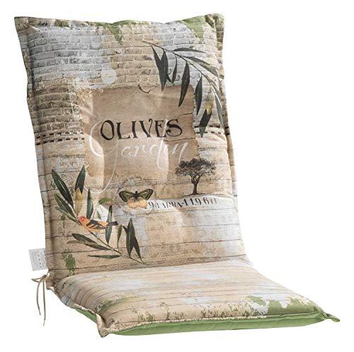 Nicht Zutreffend Mittellehner Sesselauflage Sitzpolster Gartenstuhlauflage Stuhlauflage Polsterauflage | 110 x 50 x 8 cm | Grün | Olivenblättermotiv | Baumwolle