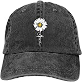 Waldeal Women's Adjustable Daisy Blessed Hat Faith Vintage Washed Baseball Cap Black