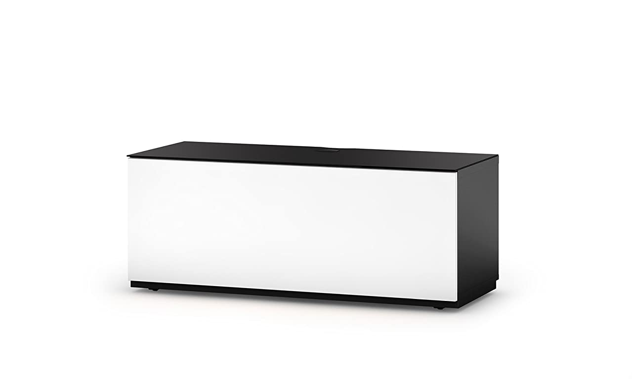 SONOROUS Studio ST-110B Wood and Glass TV Stand with Hidden Wheels for Sizes up to 65