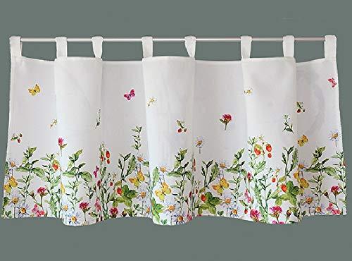Raebel Visillo Bistro cortina cortina de cocina Panneaux Multicolor mariposas y flores sobre fondo blanco, tela, blanco y multicolor, 45 x 150 cm