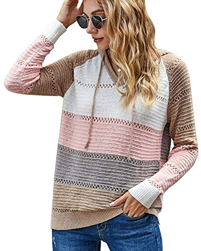 Cindeyar Damen Streifen Strickpullover V-Ausschnitt Patchwork Kapuzenpullover Langarm Loose Casual Sweater Strickpulli Stricken Oberteile Tops