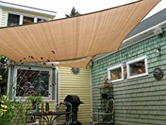 High Quality Guarantee - Constructed of 185 gsm UV protected high density polyethylene (HDPE) shade fabric with strong stitched seam and durable stainless steel D-rings in each corner( The edge is curved, not straight & Hardware and rope sells separa...