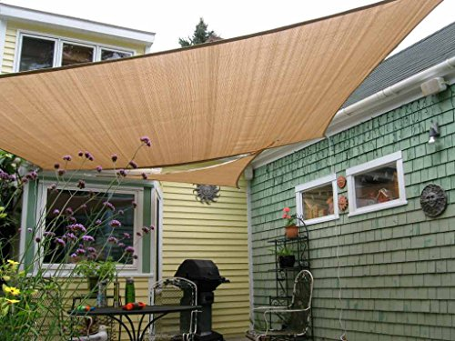 Shade&Beyond 8' x 10' Sun Sail Shade Canopy Rectangle Sand 185GSM Shade Sail for Patio Deck Yard...