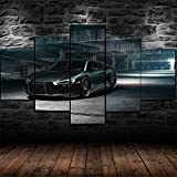 IKDBMUE Cuadros Decoracion Salon Modernos 5 Piezas Lienzo Grandes murales Pared hogar Pasillo Decor Arte Pared Cuadro Classic Gray R8 V10 Super COCH Autos DE Lujo HD Impresión Foto Innovador Regalo