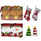 WQ Christmas Dinnerware Set,4 Pcs Xmas Characters Chair Covers,2 Pcs Christmas Tree Wine Bottle Covers, and 2Pcs Christmas Stocking Decors Set
