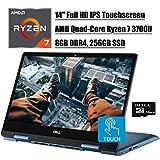 Dell Inspiron 14 5000 2 in 1 Convertible Laptop, 14' Full HD IPS Touchscreen, AMD Quad-Core Ryzen 7 3700U (i7-7500U), 8GB DDR4 256GB SSD, Backlit KB FP Win 10 (Blue) + Delca 16GB Micro SD Card