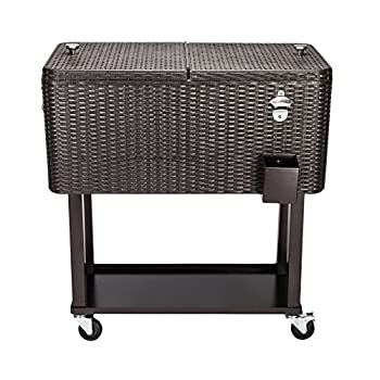 N7 80 Quart Qt Rolling Cooler Ice Chest for Outdoor Patio Deck Party Grey Portable Party Bar Cold Drink Beverage Cart Tub Backyard Cooler Trolley on Wheels with Shelf Stand Bottle Opener  Brown