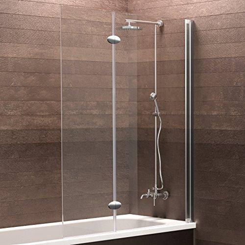 Schulte Duschabtrennung, verschiedene Gläser, faltbar für Badewanne, einfacher Aufbau, 103 x 130 cm, 5 mm Sicherheitsglas Klar hell, chromoptik, D33533 41 50