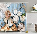 Cortina de ducha de madera azul Caja azul Queso Espacio Cottage Crema Bebida Huevos Comida Decoración del hogar Cortina de ducha de tela Baño Cortina de baño de poliéster con 12 ganchos 60x72 pulgadas