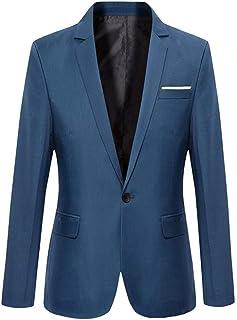 CLASSIX Men's Blue Slim Fit Cotton Suit Blazer Blue XXXL