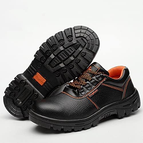 HOUJIA Zapatos de Trabajo,Botas de Seguridad Zapatos de Seguridad para Hombres Cuero Trabajo Puntera de Acero y Entresuela de Acero Antideslizante Botas también Zapatos de construcción Impermeable