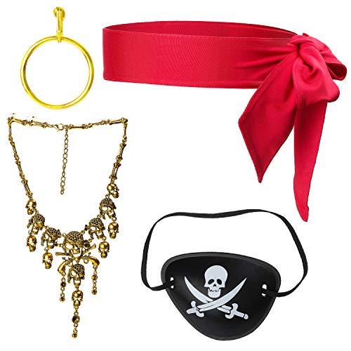Haichen Piraten Kostüm Zubehör Kopf Krawatte Stirnbänder Headwrap Bandana Piraten Augenklappe Goldohrring Karibik Piraten Dress Up Set für Halloween (Rot 3)