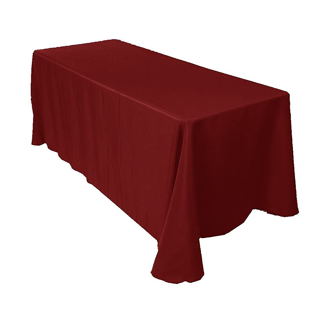 Gee Di Moda Rectangle Tablecloth - 90 x 156 Inch - Burgundy Rectangular Table Cloth for 8 Foot Table in Washable Polyester - Great for Buffet Table, Parties, Holiday Dinner, Wedding & More