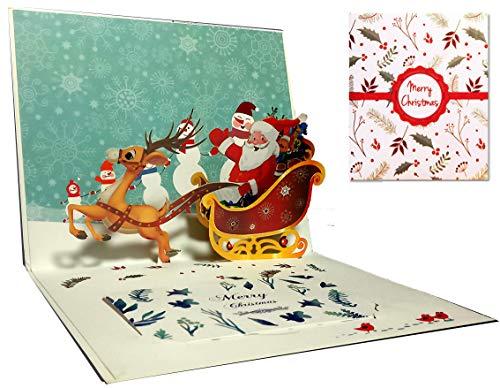 Tarjetas de Navidad, Deesospro® tarjeta 3D pop-up tarjeta de felicitación con hermoso papel cortado, regalo para Navidad, sobres incluidos, tarjeta de regalo de chrismas, Papá Noel