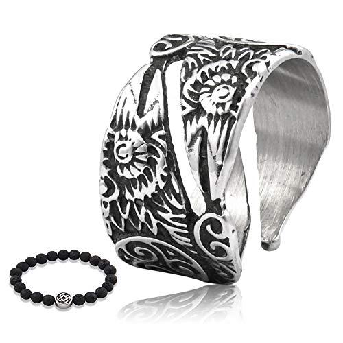 Gungneer Raven Triskele Ring Scandinavian Amulet Stainless Steel Norse Celtic Jewelry Accessory for Men Women