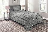ABAKUHAUS Grau Tagesdecke Set, Diamant-Platten-Effekte, Set mit Kissenbezug farbfester Digitaldruck, für Einzelbetten 170 x 220 cm, Grau