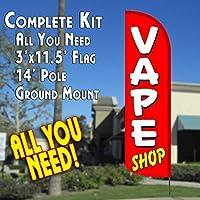 VAPE SHOP (Red/White) Windless Feather Banner Flag Kit (Flag Pole & Ground Mt) [並行輸入品]