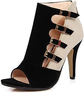 GATUXUS Open Toe Women Platform High Heel Shoes Buckle Pump Boots for Party Prom