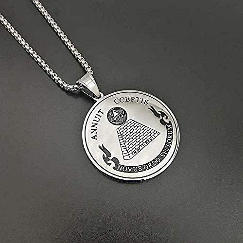CAISHENY Collar F Providence Collares Pendientes Joyería masónica Moneda Redonda Acero Inoxidable Todo para Mujeres/Hombres Cadena de 60Cm