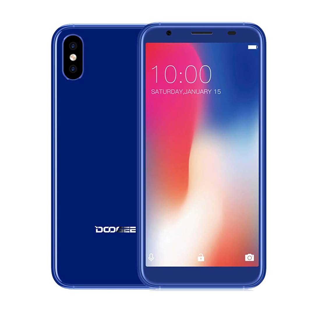 Smartphone 5.5''Ultrathin Android7.1 MKT6580 Quad-core 1G+16G Side Fingerprint Unlocked Smartphone with Dual SIM Card 2800mAh (Blue)