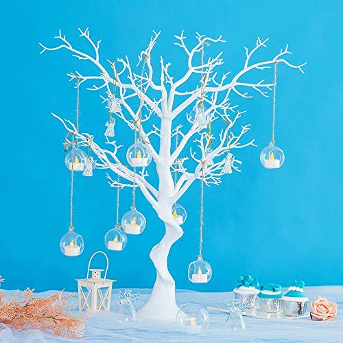 Sziqiqi White Artificial Tree for Tree Centerpiece for Weddings Christmas Birthday Party Home Indoor Outdoor Decoration 30 inches