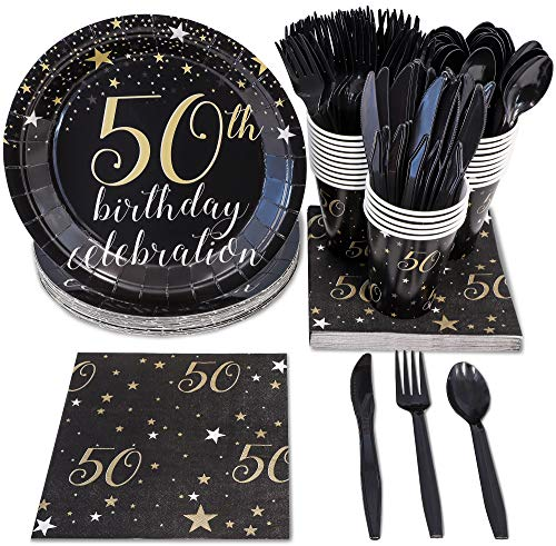 50th Birthday Plates, Plastic Cutlery, Paper Cups, and Dinner Napkins (Serves 24, 144 Pieces)